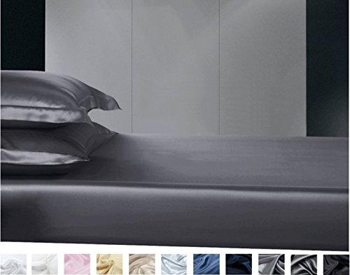 Silkmood Sábana Bajera Ajustable de Seda (Varios tamaños y Colores) 100% Seda Mulberry 600 Hilos(22momme) 200x200cm, Bronce Claro