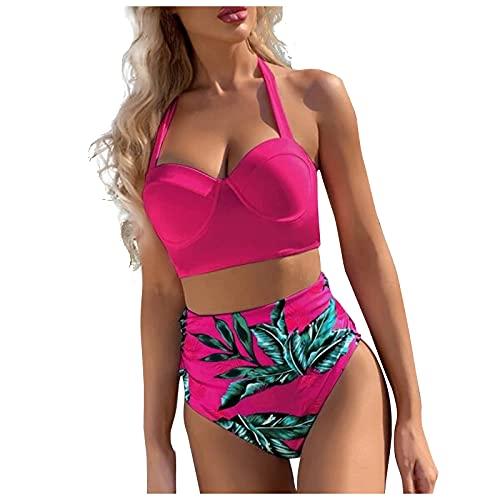 Traje de Baño de Mujer Cuello Halter con Impresión de Hoja Bañadores Mujer Casual Verano Push Up Bikini Braga Alta Ropa de Baño Suave y Ligero Conjunto de Bikini Ideal para Piscina,Playa,Mar