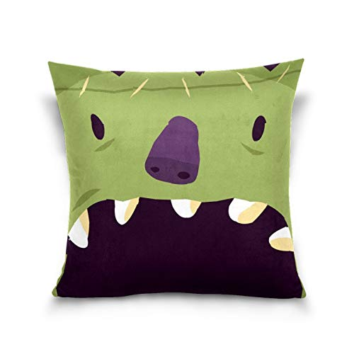 N/Q Sisters Throw Pillow Cover, 18 x 18 Inch I Small Children Cushion Case Decoration for Sofa Couch Cushion Covers Square Outdoor Pillowcase Halloween Devil Green