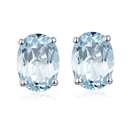 Hutang Jewelry Ohrstecker, 1,34 Karat, natürlicher Aquamarin, oval, 5 x 7 mm, massiv, 925er-Sterlingsilber Edelstein, für Damen, ideales Geschenk