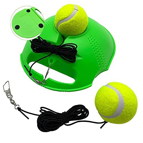 TaktZeit Self Tennis Trainer Tennis Rebound Tennis Training Gear with 2 String Balls… (Green, 2 Ball)