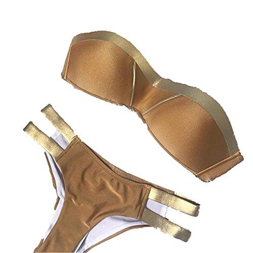 Gold Stamping Bikini Set Sexy Padded Women Swimsuit Push up Bandeau Swimwear Summer Beachwear Brazil Bathing Suit Khaki L