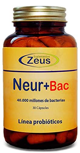 NEUR+BAC | Promueve el desarrollo neuronal y protege y equilibra la microbiota intestinal | C. Alimenticio a base de Melena de León, DMAE, Aminoácidos, Probióticos y Melatonina | 100% Vegano | 30 C.V