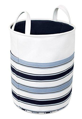 Birdrock Home canvas–portabiancheria con manici–Strisce blu, Lino, Blue Stripes, Rotondo