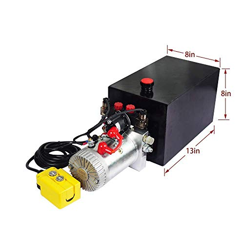 Fisters Hydraulic Power Unit 15 Quart Double Acting Hydraulic Pump DC 12V Power Unit Metal Reservoir for Dump Trailer Car Lifting