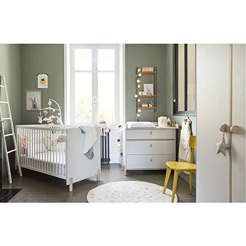 Chambre complète lit évolutif 70x140 - commode à langer - armoire 2 portes Eliott - Gris bois