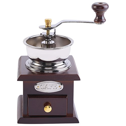 Manuelle Kaffeemühle Retro Holz Hand Kaffeemühle Kaffee Korn Burr Mill Maschine mit Catch Drawer(Kaffee)