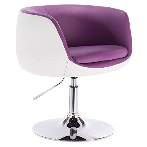 WOLTU® BH42vlw-1 1 x Barsessel Loungesessel mit Armlehne Kunstleder 2 farbig Violett+Weiss