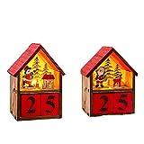 AUEDC LED-Holz Adventskalender Dekoration, Schlitten mit Weihnachtsdekoration Adventskalender Veränderbare Datum für Weihnachtsdekoration Geben Sie Ihrem Kind