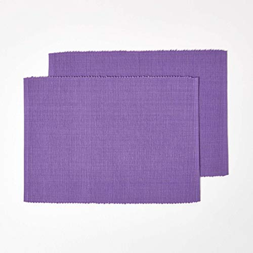 HOMESCAPES Set de Table en Coton Lot de 2, Linge de Table uni Violet, 30 x 45 cm