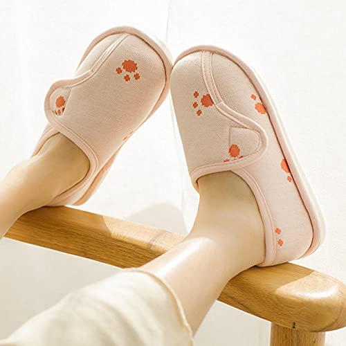 MLLM Diabéticas Zapatos,Bolsa con Zapatos mensuales de Fondo Suave, Zapatos con franqueo mágico Antideslizantes, Pantuflas de Madre Planas-Pink_39-40,Zapatos diabéticas Ajustables