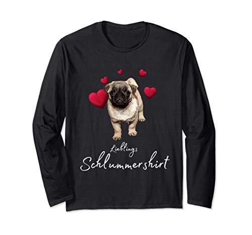 Lieblings Schlafshirt Hund mit Herz Schlafanzug Hundemotiv Langarmshirt