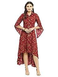 INDIBELLE Maroon Asymmetrical Western Dress