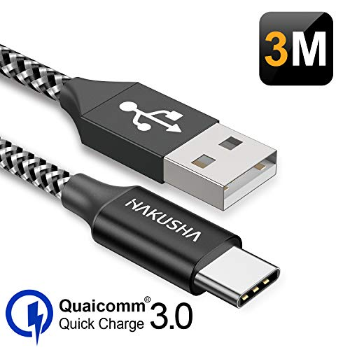 USB C Cable, USB Type C Cable [3M] Braided Nylon Quick Charge Battery Charger Cable for Samsung S8 S9 S10 A30 A40 A50 A70 A20e, Huawei P9 P20 P10 P30, Xiaomi Mi 9 Mi A2 Mi 8, Sony, Gopro, OnePlus