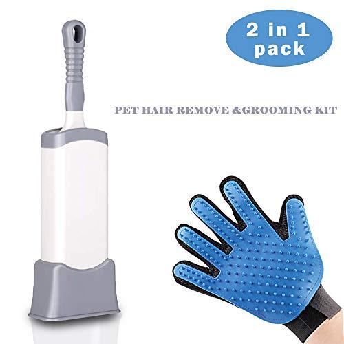 WSGQLT - Guante de Aseo para Mascotas, 2 en 1, Cepillo removedor de Pelo para Mascotas, Guantes de Masaje para Perros y Gatos