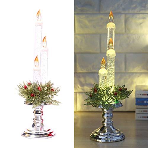 Uonlytech, candela natalizia senza fiamma, illuminata, portacandela dorato con 3 candele per decorazioni di party di Natale, Plastica, argento, Misura 1
