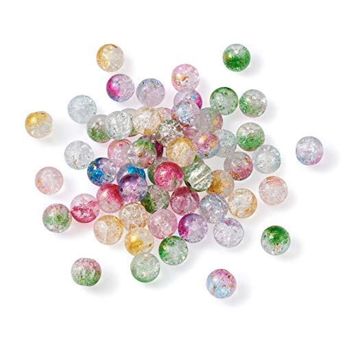 Beadthoven 270 cuentas de cristal craquelado de 10 a 11 mm, 9 colores, transparentes pintadas en aerosol, cuentas sueltas redondas con lámina dorada para pulseras, agujero: 1,4 a 1,6 mm