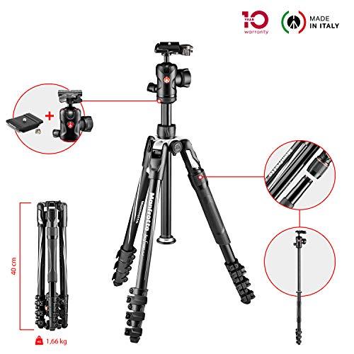Manfrotto Befree 2N1 Alu Reisestativ (mit Klemmverschluss und integriertem Einbeinstativ inkl. Tasche für DSLR, CSC und Spiegellose Kameras, Traglast 8kg, Packmaß: 40cm, Gewicht: 1,66kg)