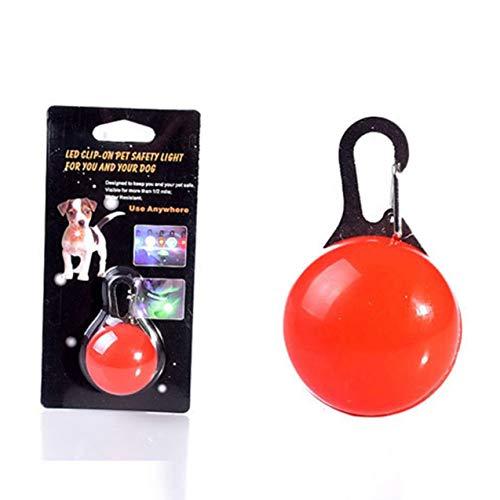 Zhou-YuXiang Perros Lindos Collares Brillantes Collar de Perro Mascota Colgantes Redondos Collar Led Intermitente Accesorios Luminosos baratijas para Mascotas
