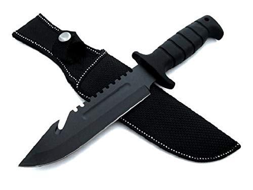 KOSxBO® massives Outdoor Survival schwarz Messer mit Scheide - Säge - SEK Messer 29 cm Überlebensmesser - Rettungsmesser - Gürtelmesser - Fahrtenmesser - Knife - Kampfmesser