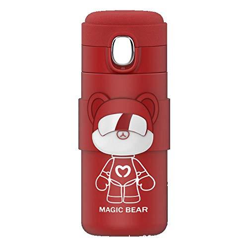 AbesterModa oso pareja termo 304 vaso de acero inoxidable doble aislamiento botella de agua café taza de té viajero-rojo350ml