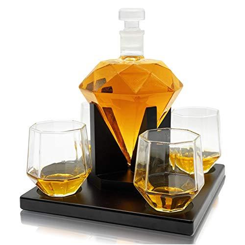 Whisiskey® Whisky Decanter – Diamante – 900 ml - Regalo Uomo – Include 4x Bicchieri Wisky, 4x Pietre Whiskey e Beccuccio
