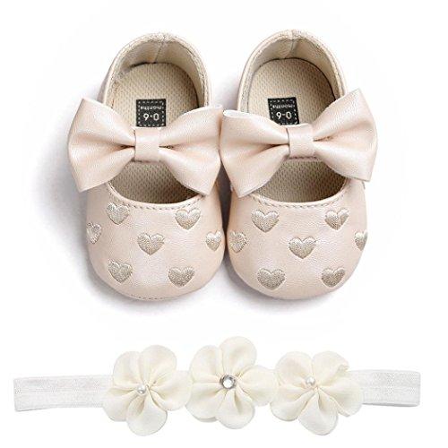 Fossen Zapatos de Bebe Fossen Recién Nacido Niñas Piel Artificial Primeros Pasos Bordado Corazón Patrones Y Diadema de Flores (0-6 Meses, Khaki)