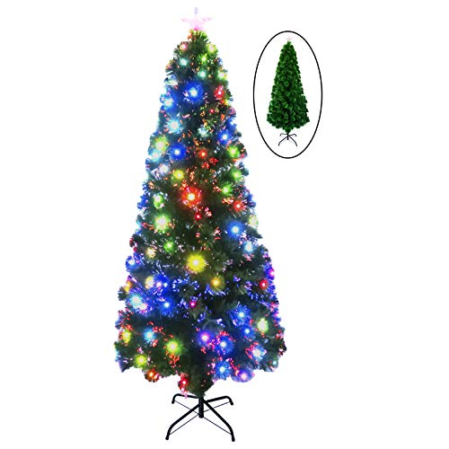 SOARRUCY 6 FT Pre-Lit Fiber Optic Artificial Christmas Tree with 7-Colors Twinkle Lights, 205 Multicolored Lights, Foldable Stands, Green