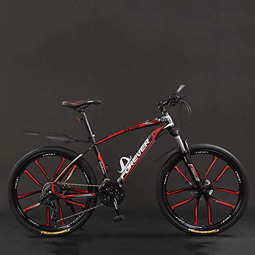 Bicicleta, 26 Pulgadas 21/24/27/30 Bicicletas De Montaña, Velocidad Duro De La Cola De La Bicicleta De Montaña, Bicicleta De Peso Ligero Con Asiento Ajustable, Doble Disco De Freno,Black red,24 Speed