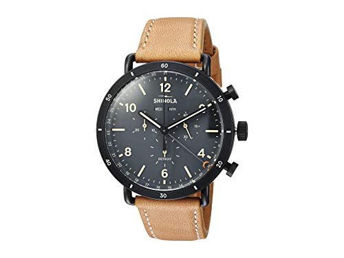 Shinola Detroit The Canfield Sport Chronograph Calendar 45mm - 20089891 Natural Leather Strap/Cool Gray Dial One Size