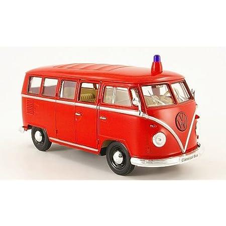 Vw T1 Bus Feuerwehr 1962 Modellauto Fertigmodell Welly 1 24 Spielzeug
