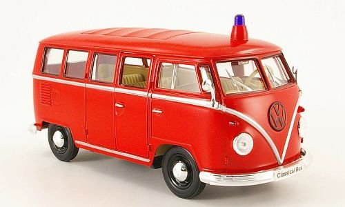 VW T1 Bus, Feuerwehr, 1962, Modellauto, Fertigmodell, Welly 1:24