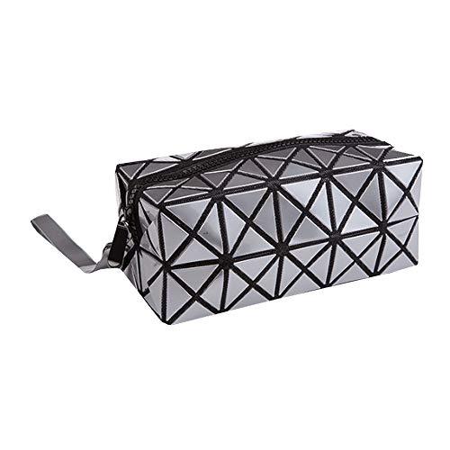 ISABELLE Trousse de Toilette Pliable Pochette de Maquillage Portatif Toiletbag en Cuir Multifonctionel Brillant Fashion Gris