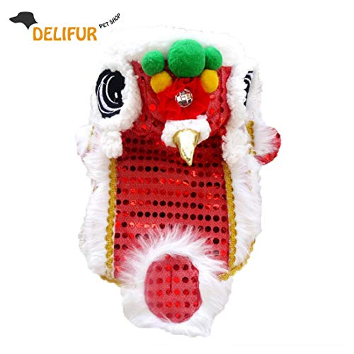 Delifur Cute Dance Lion Pet Costume with Red Sequins New Year Cat Dog Clothes Hoodies Coat for Small Dogs (8, Red)