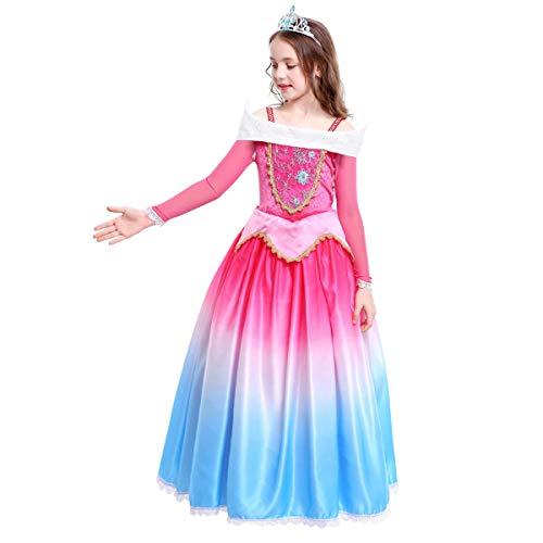 IBTOM CASTLE Mädchen Dornröschen Aurora Prinzessin Kostüm Kleid Kinder Karneval Festliches Geburtstagsfeier Cosplay Verkleidung 5-6 Jahre