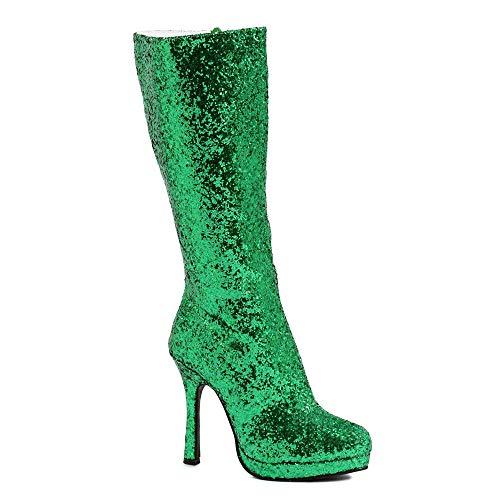 Ellie Shoes Damen 421-Zara Glitzer Stiefel - Stiletto Superhero Stiefel Grün Gr.38