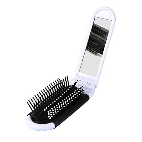 Brosse à cheveux de voyage pliante avec miroir, brosse compacte à peigne de massage, format de poche, blanc