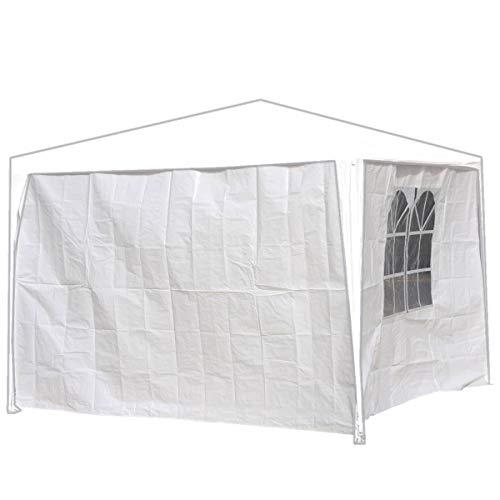 Seitenwände Pavillon 3x2m weiß PE 2Stück 1xDoppelfenster Gartenzelt Seitenteile