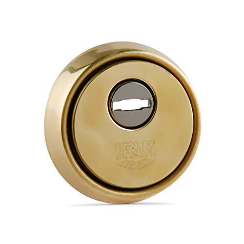 IFAM ES610L (025012)- Escudo de seguridad para puertas, núcleo reforzado de acero antitaladro, embellecedor antimordaza y antiextracción, acabado latón