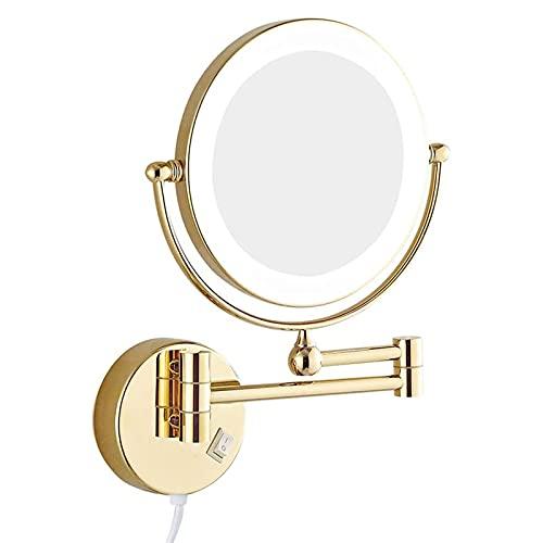 FGHHJ Espejo de Maquillaje montado en la Pared LED, baño Giratorio de Doble Cara de 8 Pulgadas iluminada de Espejo de tocador de Lupa iluminada Espejo de baño Extensible con Enchufe de Interruptor