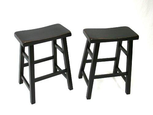 Set of 2 Heavy Duty Saddle Seat Bar Stools Counter Stools - 24' (Black)