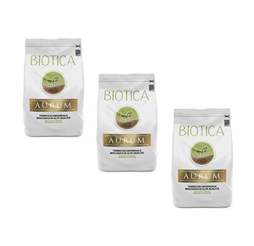 BIOTICA Aurum Terriccio Naturale Universale di Alta qualità - Fertilizzato con Humus di Lombrico (60 Litri)