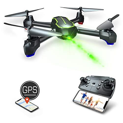 Asbww| GPS Drohne mit Kamera HD 1080p für Anfänger und Kinder - RC Quadrocopter Drohne FPV mit Live Übertragung / GPS Automatisch Rückkehr / 32 Min Flugzeit / Follow Me Funktion(Zwei Batterien)