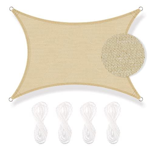 Toldo Vela de Sombra Rectangular 3 * 4m de HDPE para Protección Rayos UV 98%, Apta Exterior Patio, Jardín, Terraza, Arena, Kit Cuerdas