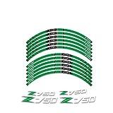 Decal de rayas de llanta de rueda Para Kawasaki Z750 Z 750 motocicleta R RIM Stripe Decal Pegatina Frente y trasera Protección decorativa Juego completo Raya de la decoración de la seguridad del cubo