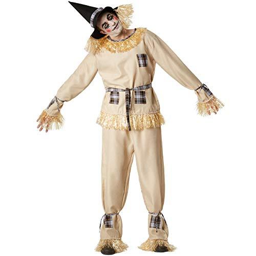 dressforfun 901035 Vogelscheuche Kostüm, Strohpuppe Verkleidung für Damen Herren, mit Hut und Kunststroh, für Fasching Karneval Halloween, beige - Diverse Größen - (XXL   Nr. 304604)