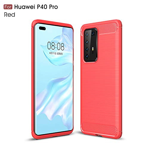 MISIDE Compatible with Huawei P40 Pro Case,Slim Fit Carbon Fiber Design Flexible Soft TPU Case [Shock-Proof][Scratch Resistant] Protective Back Cover for Huawei P40 Pro (Red)