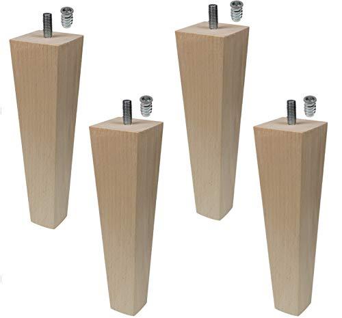 Moebelfusse Holz 4 x 45mm /H=180mm Möbelfüße Trapez Holz Möbelfuß Schrankfüße Schrankfuß Sofas Tische Betten BUCHEN HOLZ