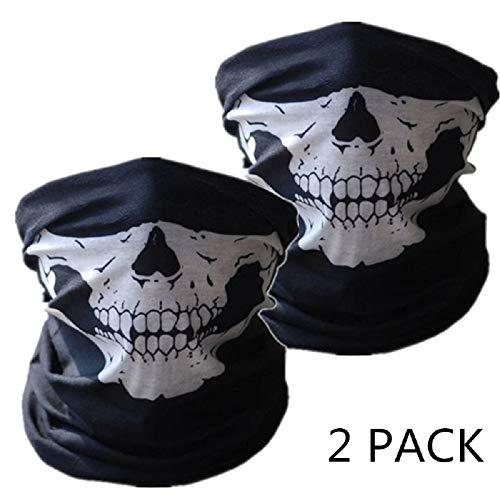 SOFIT SF-02 2 Stück Nahtlos Schädel Skull Gesichtsmaske, Motorrad Biker Snowboards Halb Gesichtsaske, Staubschutz für Outdoor