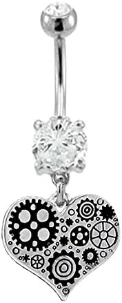 Clear cz Steam punk Heart scienc fiction machine like dangle Belly button navel Ring piercing bar body jewelry 14g